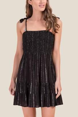 francesca's Brittany Smocked Swim Cover-Up Dress - Black