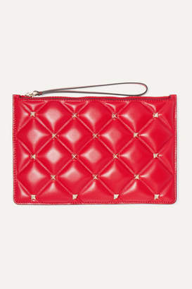 Valentino Garavani Candystud Medium Quilted Leather Pouch - Red