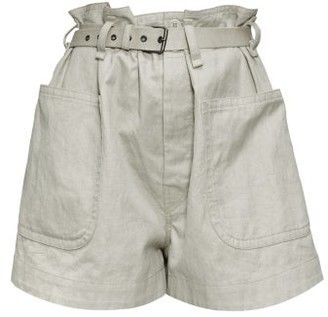 Etoile Isabel Marant Rike High-rise Belted Cotton-blend Canvas Shorts - Womens - Khaki