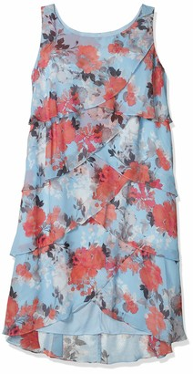 SL Fashions Women's Plus Size Floral Print Tulip Tier Dress Blue/Multi 20W