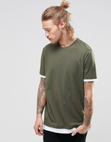 Asos Longline T-Shirt With Contrast Cuff And Hem In Khaki