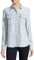 Velvet Heart Light-Wash Chambray Blouse, Light Blue