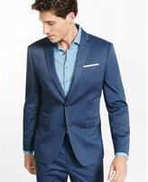 Express slim photographer cotton sateen blue heather suit jacket