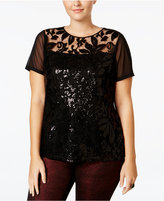 INC International Concepts Plus Size Sequin Lace Top, Only at Macy's