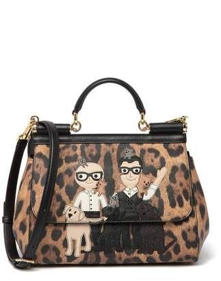 Dolce & Gabbana Cheetah Printed Leather Satchel