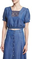 Carisa Rene Solstiss Short-Sleeve Blouse, Blue