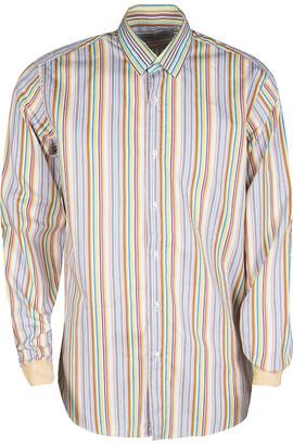 Etro Multicolor Striped Cotton Contrast Cuff Detail Long Sleeve Shirt L