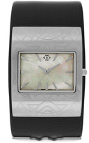 Nanette Lepore Women's Wonder Woman Mother of Pearl Leather Cuff Watch