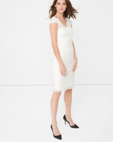 White House Black Market Banded White Sheath Dress