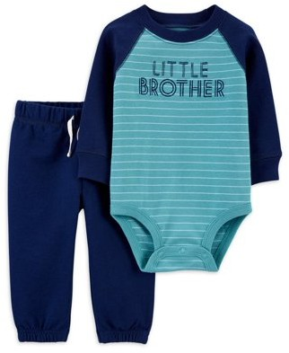 Child of Mine by Carter's Baby Boy Hooded Bodysuit and Pant Outfit Set, 4pc
