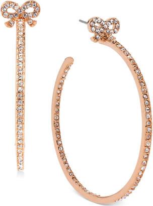 Betsey Johnson Medium Rose Gold-Tone Crystal Bow Hoop Earrings