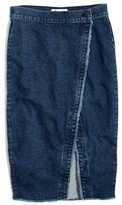 Madewell Women's Raw Hem Denim Midi Skirt