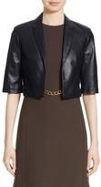 Michael Kors Women's Crop Plonge Leather Jacket