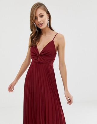Asos Design DESIGN cami midi dress with pleat skirt and knot bodice-Purple