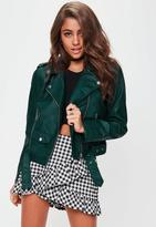 Missguided Green Ultimate Biker Jacket, Blue