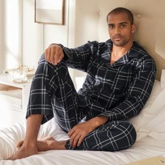 The White Company Mens Flannel Check Pyjama Set, Navy, Large