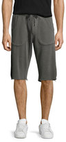 True Religion Mesh-Sides Drawstring Sweat Shorts, Concrete