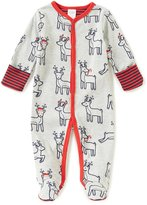 Starting Out Baby Boys Newborn-9 Months Christmas Reindeer-Print Footed Coverall