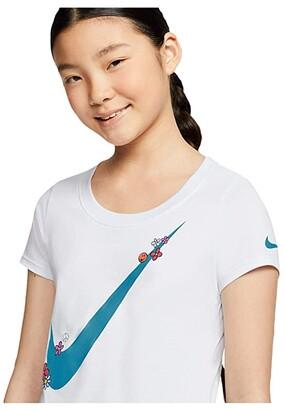 Nike Kids NSW Scoop Tri Tee (Little Kids/Big Kids) (Football Grey) Girl's T Shirt