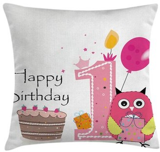 """Cartoon First Birthday Cake Owl Square Pillow Cover Ambesonne Size: 16"""" x 16"""""""