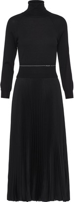 Prada Funnel Neck Midi Dress