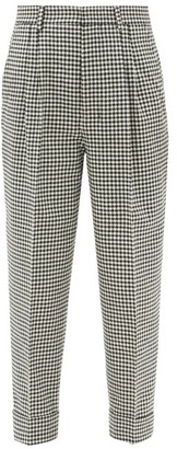 Ami High-rise Checked Wool-blend Trousers - Black White