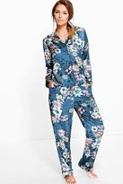 Boohoo Rosie Satin Floral Print Button Through PJ Set