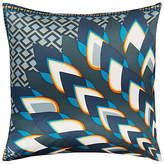 west elm Silk Corner Floral Cushion, Regal Blue