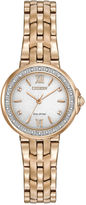 Citizen Eco-Drive Womens Rose Gold Tone Diamond Watch Em0443-59A