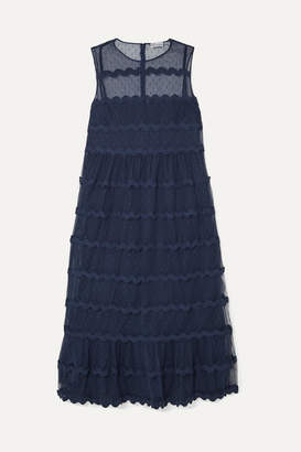 RED Valentino Abito Rickrack-trimmed Point D'esprit Tulle Midi Dress - Navy
