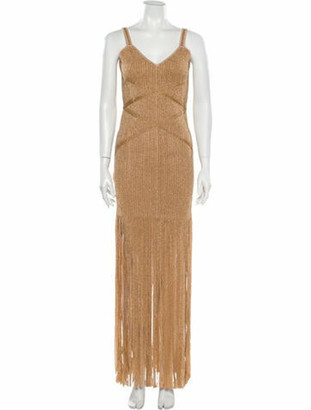 Herve Leger 2020 Long Dress w/ Tags Gold