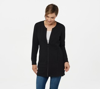 Denim & Co. Active French Terry Long Zip-Front Tunic w/ Trim
