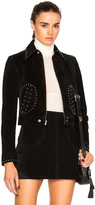 Saint Laurent Studded Pocket Suede Jacket