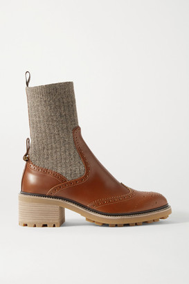 Chloé Franne Ribbed Wool And Leather Ankle Boots - Brown