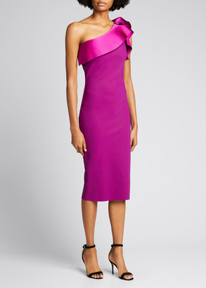 Chiara Boni Satin One-Shoulder Jersey Sheath Dress