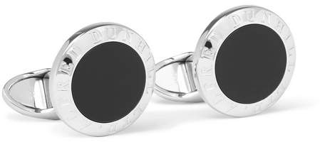 Dunhill Sterling Silver Onyx Cufflinks