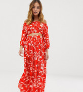 Asos DESIGN Petite chiffon flamenco floral stripe print split maxi beach skirt two-piece