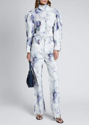 Isabel Marant Tie-Dye Denim Mock-Neck Top