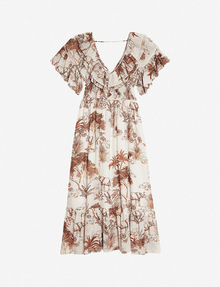 Sandro Jolay graphic-print cotton midi dress