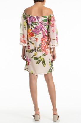 Trina Turk Amaris Silk Floral Print Off-the-Shoulder Dress
