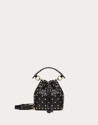 Valentino Mini Rockstud Spike Nappa Bucket Bag Women Black 100% Lambskin OneSize