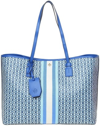 Tory Burch Shopping Gemini In Canvas And Blue Leather
