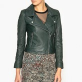 Ikks Leather Jacket with Perforated Sleeves