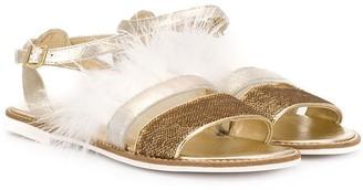 MonnaLisa TEEN feather trim sandals