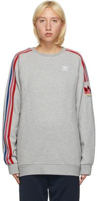 adidas Grey 3D Trefoil 3-Stripes Sweatshirt