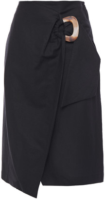 Isolda Wrap-effect Linen And Cotton-blend Canvas Skirt