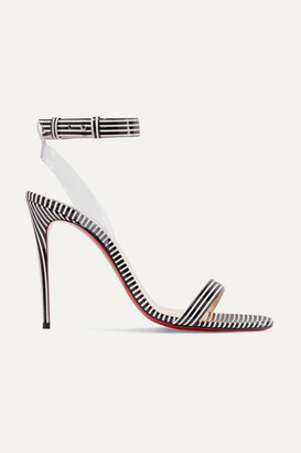 Christian Louboutin Jonatina 100 Pvc-trimmed Striped Patent-leather Sandals - Black