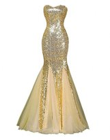 Winnie Bride Sparkly Sequins Evening Prom Ball Gown Mermaid Long Formal Dress