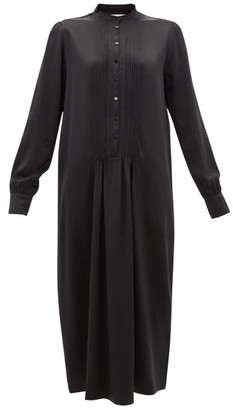 LA COLLECTION Clarina Pintucked Silk-satin Shirt Dress - Black