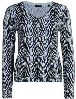 ATM Anthony Thomas Melillo Cotton Cashmere Zebra Printed V-Neck Sweater